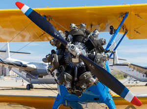 view of an old airplane engine